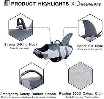 Kuoser Gilet de sauvetage pour chien avec poignée de sauvetage et flottabilité supérieure pour petits et moyens/grands chiots