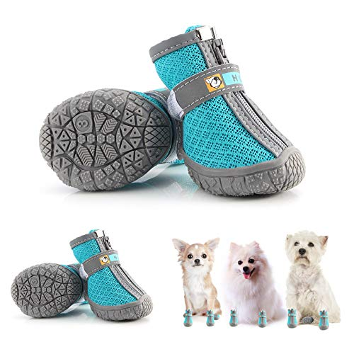 Hcpet Dog Boots Paw Protector, Anti-Slip Breathable Dog Shoes for Small Medium Dogs with Reflective Straps, Waterproof Puppy Booties 4Pcs