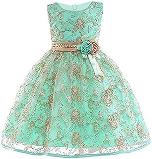 JIANGNIAU Children Wear Girls Gold Silk Embroidery Sleeveless Dress Wedding Dress, Size:150cm(Red) (Color : Apple Green)