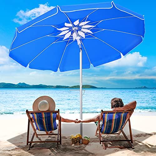 Beach Umbrella with Sand Anchor - 6.5ft Portable Windproof Patio Umbrella, Sky Blue