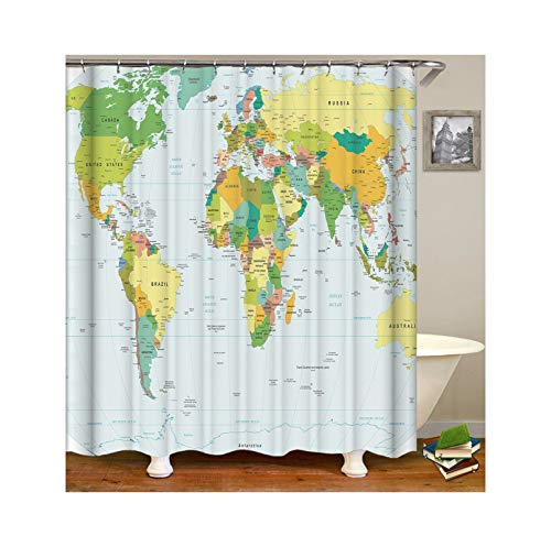 Abellale Duschvorhang Antischimmel Waschbar Weltkarte Waschbarer Duschvorhang Bunt 90x180CM