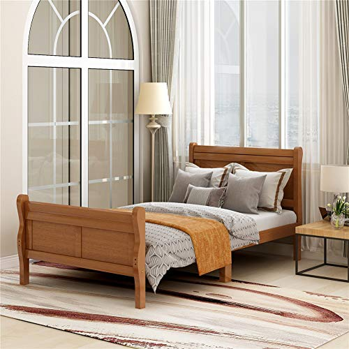 Wood Bed Frame Twin Size Platform Bed with Headboard Footboard Wooden Slat Support Mattress Foundation Bedroom Furniture (Oak)