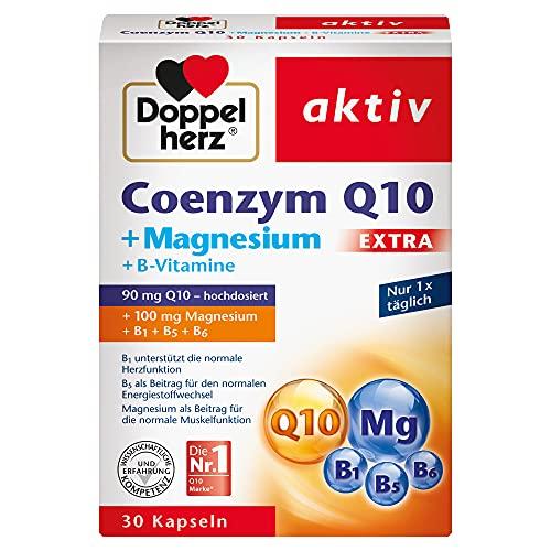 Doppelherz Coenzym Q10 + Magnesium EXTRA – Mit Magnesium als Beitrag für die normale Funktion der Muskeln und des Nervensystems – 30 Kapseln
