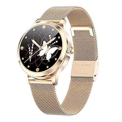 NONGLAN Smart Watch For Women Ip68 A Prueba De Agua DIY Reloj Faces Lady Smartwatch Girl Regalo(Color:Oro)