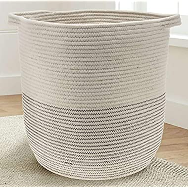 Extra Large Woven Storage Baskets | 18  x 16  Decorative Blanket Basket, Use For Sofa Throws, Pillows, Towels, Toys or Nursery | Cotton Rope Organizer | Coiled Round White Laundry Hamper with handles