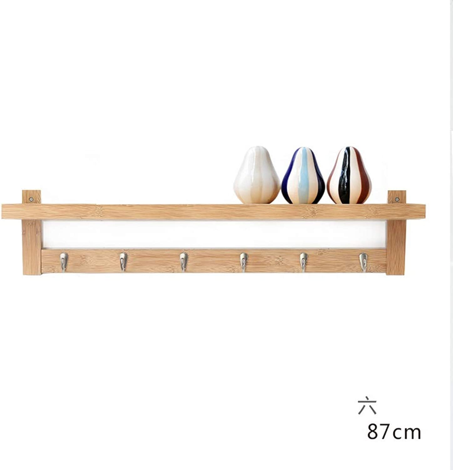 Tingting-Wall Mounted Coat Rack Bamboo Solid Wood Bedroom Living Room Kitchen Hall Storage Multi-Hook Shelf (color   Wood, Size   6)