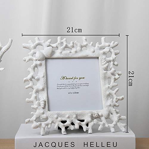SMAQZ mediterrane stijl fotolijst, hars fotolijst, koraal Conch shell multifunctionele hars certificaat doos voor slaapkamer kantoor woonkamer frame desktop decoratie