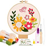 Pllieay Punch Needle Embroidery Starter Kits include Instructions, Punch Needle Fabric with Floral Pattern, Yarns, Embroidery Hoops, Threader Tools for Punch Needle Embroidery Rug-Punch & Pinch Needle