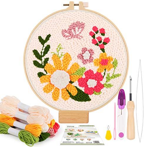 Pllieay Los kits de iniciación de bordado de aguja de perforación incluyen instrucciones,tela de aguja de punzón con patrón floral,hilos,aros de bordado,herramientas de enhebrador para perforar aguja