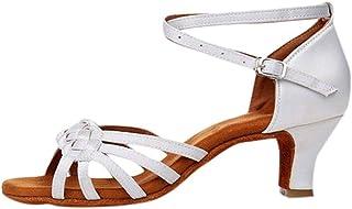Zapatos de Baile Latino de Tacón Alto/Medio para Mujer Tejer Hebilla Romanas Zapatos Vestir de Fiesta Fondo Suave y Comodo...
