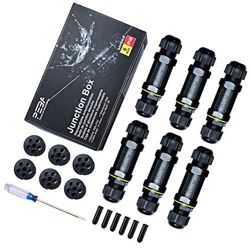 Wasserdichter Anschlusskasten IP68 Außenkabelanschluss Elektrisch 5-poling für 4mm-14mm Durchmesser Kabel (6er Pack)