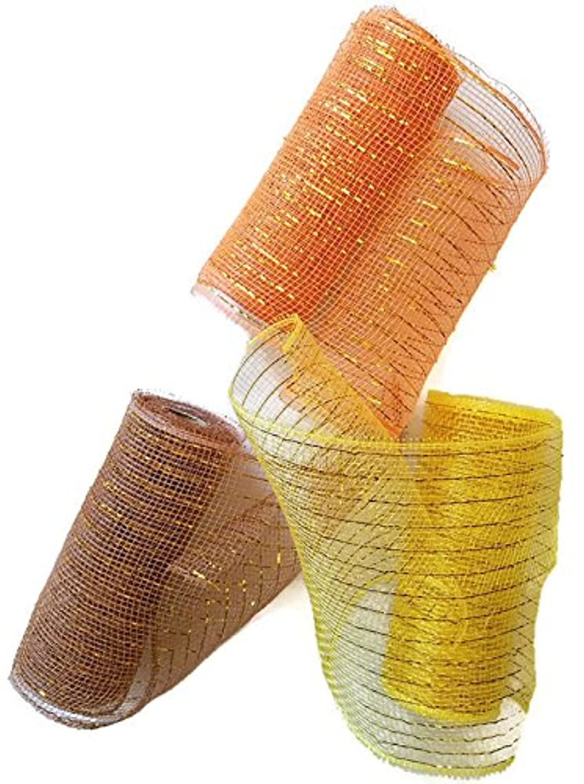 Decorative Harvest Mesh in Fall Colors Set of 3 - Orange, Yellow and Brown 5 Yards each