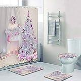 Shiming Weihnachten wasserdichte Schneeflocke Duschvorhang rutschfeste Badezimmermatte Sets