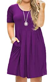 21553bbd9435 Tralilbee Women's Plus Size Short Sleeve Dress Casual Pleated Swing Dresses  with Pockets