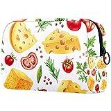 Kosmetiktasche Make-up Taschen für Frauen, Kleine Make-up Tasche Reisetaschen für Toilettenartikel - Obst Tomaten Käse Muster Bunt