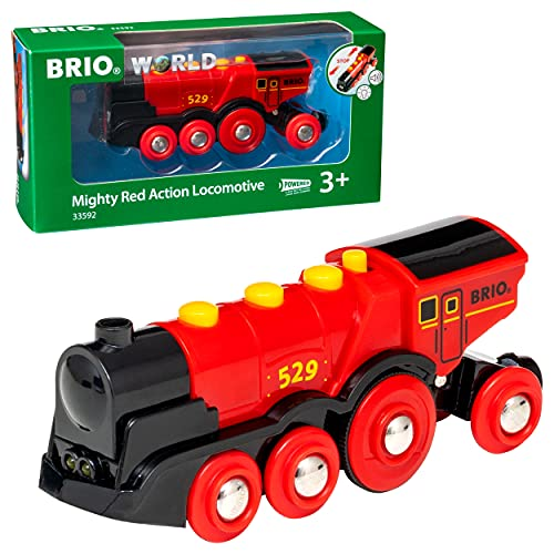 BRIO 33592 Gran Locomotora Roja a Pilas con Luz y Sonido, BRIO Trenes-Vagones-Vehículos, Edad Recomendada 3+