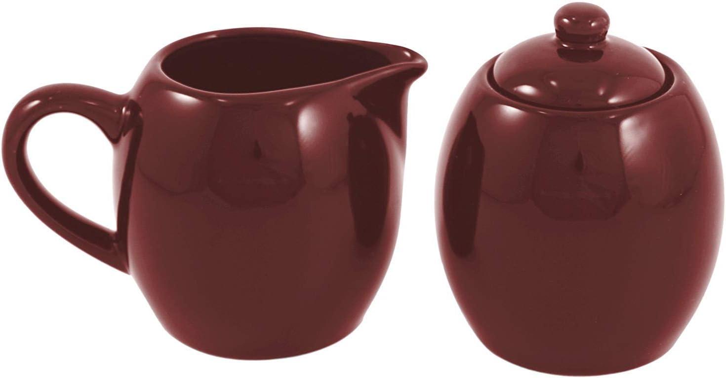 Bargain sale Burgundy Ceramic Discount mail order Creamer and Sugar Service with Lid Set