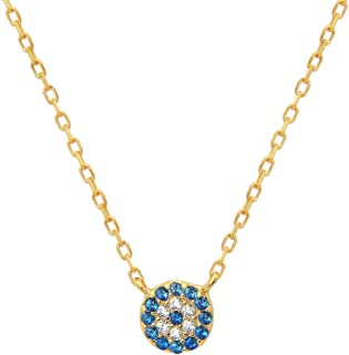 Gold Plated Silver Mini CZ Evil Eye Necklace, 15