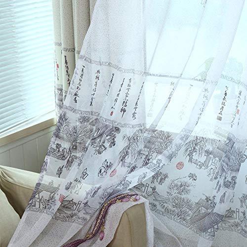Qingming Shanghe Chinesische Tusche Farbe Fenster Schatten Verdunkelungsvorhänge für Wohnzimmer Vorhänge für Schlafzimmer Vorhänge für Arbeitszimmer, Tüll color1, B300cmxL270cm, Bleistiftfalte