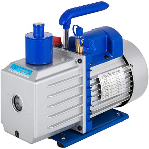 VEVOR Bomba de Vacío 9 CFM 1HP JB, 220 V 50 Hz Juego de Manómetros Diagnósticos 2 Vías para Aire Acondicionado, Bomba de Vacío de 2 Etapas Ideal para R12, R22, R134a Como Protección Ambiental Frío