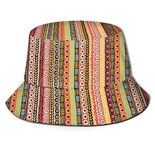 AOOEDM Manta Mexicana Rayas Unisex Impresión Bucket Hat Patrón Sombreros de Pescador Verano Reversible Packable Cap Mujeres Hombres Chica Niño Negro