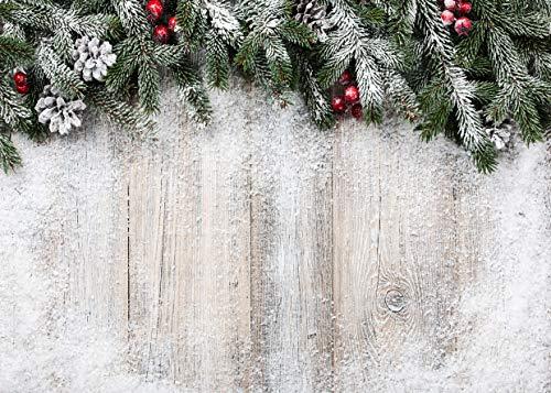 AIIKES 7x5FT Madera Tablero Nieve Fondo Invierno Navidad Fotografía Telones de Fondo Recién Nacido Bebé Ducha Fondo Familia Navidad Partido Decoración Antecedentes Foto Booth Estudio Props 11-703