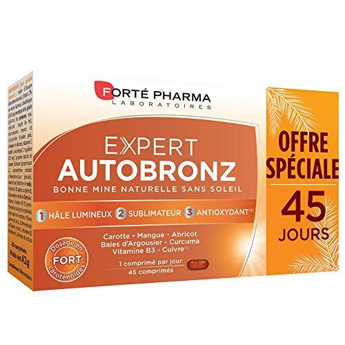Forté Pharma - Expert AutoBronz | Complément Alimentaire à base de Carothénoïdes et Huile d Onagre - Effet Bonne Mine | 45 comprimés
