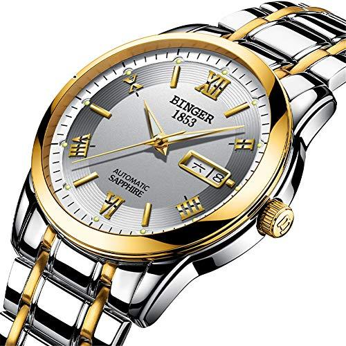 BINGER Suiza Relojes de Oro Rosa para Hombres,Sapphire Japan Movement Automatic Skeleton Mechanical Casual Wristwatch 107 Self Winding,D