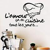 Etiqueta de la pared de la cocina decoración del comedor cita amor calcomanías de cocina pegatinas de restaurante calcomanía francesa Cook A5 42x67cm