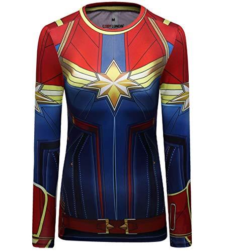 Cody Lundin, maglietta da donna a forma di capitano Surprise Tops a compressione con stampa 3D, maniche corte e maniche lunghe, da donna Lungo S. XL