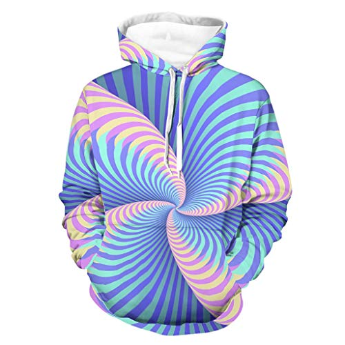 Knowikonwn Herren 3D Swirl Hoodie Mode – Illusion Pullover Kapuzenbluse weiß 4 4XL