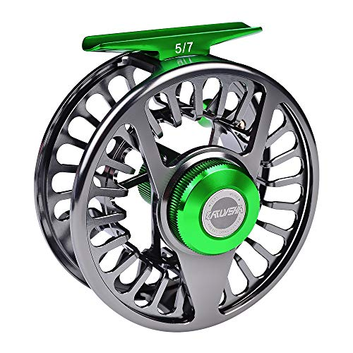 BAIKALBASS Fly Fishing Reel CNC-Machined Aluminum Alloy Fly Wheel Large Arbor 5/7 7/9 9/10 WT Disc Drag System Salmon Trout Fishing Reels Gunmetal 9/10WT