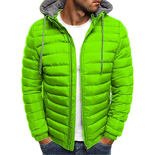 Men's Lightweight Warm Puffer Jackets Autumn Winter Down Jacket Thermal Hybrid Hiking Coat Water Resistant Packable Green