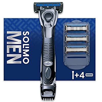 Amazon Brand - Solimo Male 5 Blade Razor with 3-in-1 Trimmer and 4 Blades