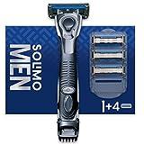 Marca Amazon - Solimo Maquinilla de afeitar de 5 hojas para hombre con recortador 3 en 1 y 4 recambios