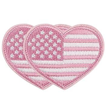 2 PCS America Flag Patch Love Heart Shape American Flag Patch Sew On USA Flag Patch for Backpacks Bags Vests Hats Jeans Jackets  Pink