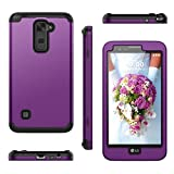 for LG Stylus 2 Case, WeLoveCase Heavy Duty Drop Protection Case Shockproof Silicone Bumper Impact Hard PC 3 in 1 Hybrid Protective Case Cover for LG Stylus 2 / for LG G Stylo 2 (LS775) - Purple