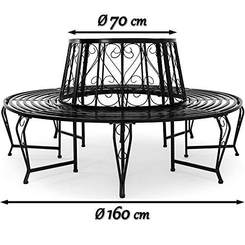 Baumbank 360° Metall, Ø 160cm, pulverbeschichtet, geschwungene Beine Gartenbank Rundbank - 8