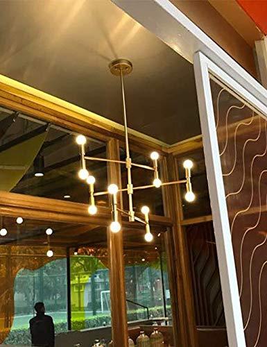Tokyia Lámparas Lámpara Colgante Pendiente Moderna de la iluminación de Techo de la lámpara de la lámpara Colgante con 12 Luces del Accesorio de Montaje Empotrado, Oro con Acabado Negro, Oro