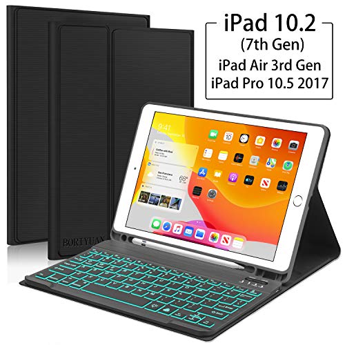 iPad 10.2 7th Generation 2019 Keyboard Case,Boriyuan 7 Colors Backlit Detachable Keyboard Slim Leather Folio Smart Cover with Built-in Pencil Holder for iPad 10.2 /iPad Air 3rd Gen/iPad Pro 10.5–Black