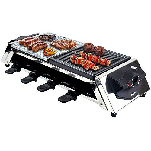 Syntrox Germany Raclette Genève en Acier inoxydable pour 8 personnes avec plaque de grill et de la pierre chaude