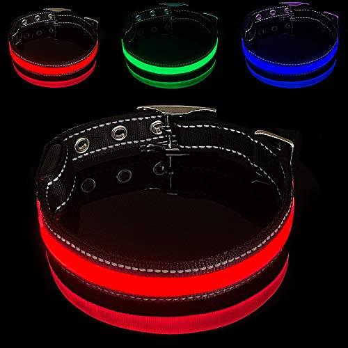 MELERIO LED Hundehalsband mit USB wiederaufladbar und 100% wasserdicht, superhelles blinkendes Hundehalsband mit 10 Stunden Arbeitszeit für mittelgroße/große Hunde