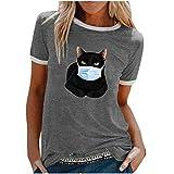 YANFANG Camiseta De Manga Corta Suelta con Cuello Redondo Y Estampado Informal A La Moda para Mujer, Blusa Superior, Jersey Camisetas Mujer Raya Blusas Tops Fiesta (Gray3, XL)
