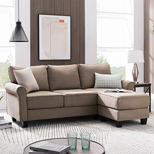 Nolany Reversible Sectional Sofa Couch for Small Apartment L Shape Sofa Couch 3-seat Sectional Corner Couch (Dark Khaki)