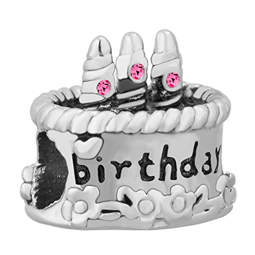 UNIQUEEN Happy Birthday Gift Cake Charms Beads for Charm Bracelets