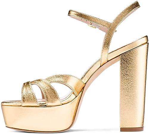 XLY Femmes Chunky Block Sandales Au Talon, Sexy Ouvert Toe Cheville Strap Plate-Forme Robe De Mariée De Mariage Pompes Chaussures,or,37