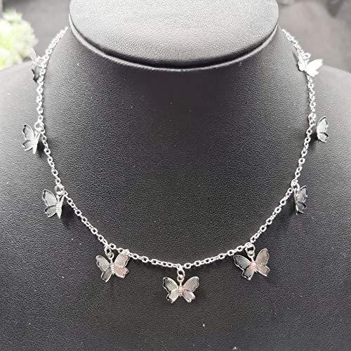 Niedliche Kleintier-Schmetterlingskette Halskette Für Frauen Silber Farbe Schlüsselbeinkette Weiblicher Halsreif Schmuck