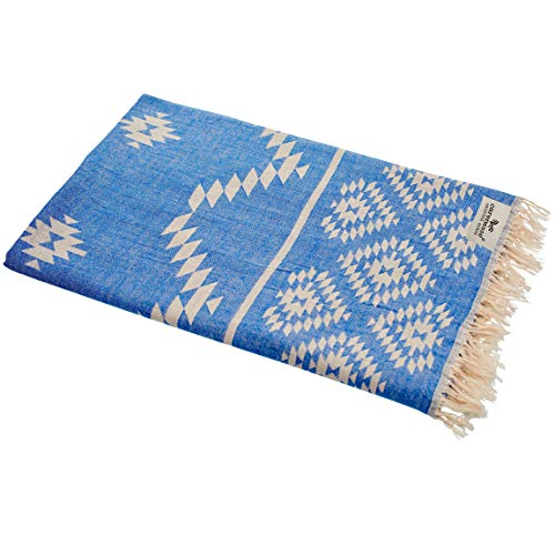Carenesse Kelim Ethno niebieski ręcznik hammam, 90 x 175 cm, wysokiej jakości dwustronny ręcznik ze 100% bawełny, krótkie frędzle, ręcznik plażowy, ręcznik do sauny chusta na ramię Stola Pareo