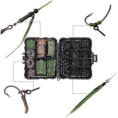 420pcs / caja de carpa kit de aparejos de pesca incluyendo ganchos de giros antiadganse mangas de gancho de parada de gancho talleres de cebo de cebo tornillo herramienta de pesca al aire libre acceso
