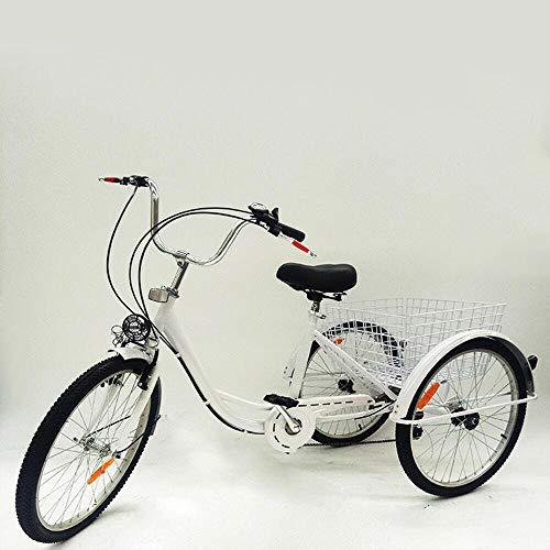 HaroldDol 24 Zoll Dreirad für Erwachsene, 6 Gänge Erwachsenendreirad Shopping mit Korb 3 Rad Fahrrad für Erwachsene Adult Tricycle Comfort Fahrrad Silver Outdoor Sports City Urban